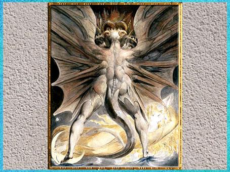 D'après The Great Red Dragon and the Woman Clothed in Sun (Le grand Dragon Rouge et la Femme vêtue de Soleil,), de William Blake, 1805-1810, plume, encre, aquarelle, Apocalypse, début XIXe siècle. (Marsailly/Blogostelle)