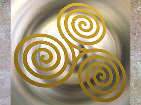 D'après le motif celtique du triskèle, à triple spirale, âge du Fer. (Marsailly/Blogostelle)