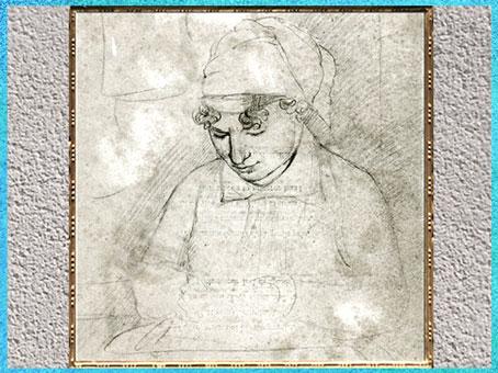 D'après un portrait idéalisé de Catherine Blake, croquis de William Blake, 1803, début XIXe siècle.  (Marsailly/Blogostelle)