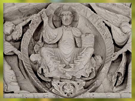 D'après le Christ en majesté, portail, église de Vandeins, saints Pierre et Clair, XIIe siècle, art Roman, époque médiévale. (Marsailly/Blogostelle)