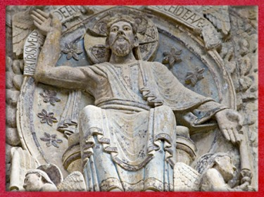 D'après le Christ de Conques, Jugement dernier, Église Sainte Foy, XIIe siècle, Aveyron, France, art Roman, époque médiévale. (Marsailly/Blogostelle)