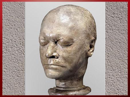 D'après le visage de William Blake, masque-moulage de James de Ville, 1823, plâtre, début XIXe. (Marsailly/Blogostelle)