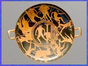 D'après Thésée terrassant le Minotaure, céramique attique à figures rouges,  440-430 avjc, Vulci, art antique. (Marsailly/Blogostelle)
