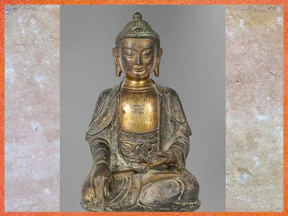 D'après un bouddha Sakyamuni, statuette en bronze, XVIe siècle, dynastie Ming, Chine ancienne. (Marsailly/Blogostelle)