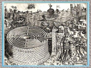 D'après Le labyrinthe de Crète et l'histoire de Thésée et d'Ariane, Baccio Baldini, gravure, vers 1446, XVe siècle, Renaissance italienne.  (Marsailly/Blogostelle)