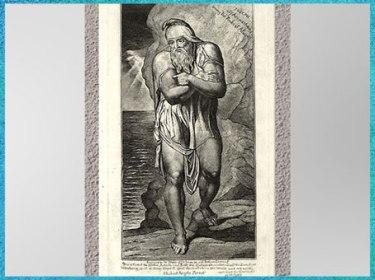 D'après Joseph of Arimathea among The Rocks of Albion, de William Blake, gravure, selon Michelangelo, 1773, fin XVIIIe siècle. (Marsailly/Blogostelle)
