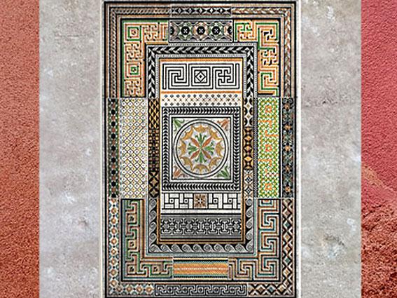 D'après des frises de svastikas, de grecques, et de chaînons, Pompéi, époque Romaine (La Grammaire de l'ornement, Owen Jones,1856).(Marsailly/Blogostelle)