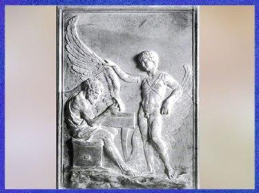 D'après Dédale, construisant ses ailes, et son fils Icare, IIe siècle, bas-relief romain, marbre, villa Albani, Rome, art antique. (Marsailly/Blogostelle)