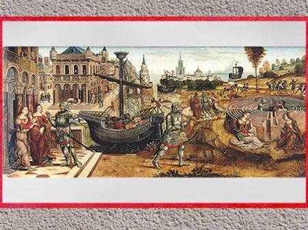 D'après l'histoire de Thésée et le Minotaure, du Maître des Cassoni Campana, vers 1500 -1525, huile sur bois, selon Ovide, Métamorphoses, début XVIe siècle. (Marsailly/Blogostelle)