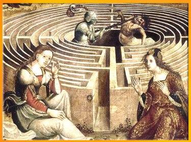 D'après Thésée combattant le Minotaure, détail, du Maître des Cassoni Campana, vers 1500 -1525, huile sur bois, selon Ovide, Métamorphoses, début XVIe siècle. (Marsailly/Blogostelle)