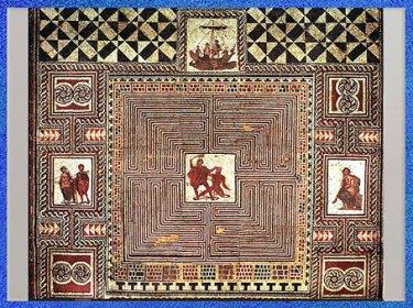 D'après le labyrinthe, Thésée combattant le Minotaure, détail, mosaïque, villa romaine, Loigersfelder, Salzbourg, Autriche. (Marsailly/Blogostelle)