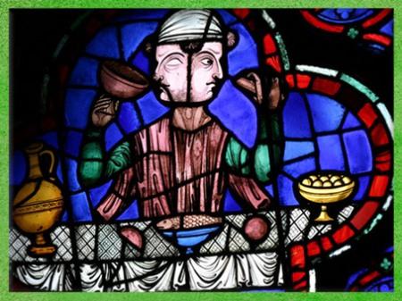D'après la figure de Janus, et frise de croix, vitrail, Notre-Dame de Paris, 1163-début-XIVe siècle, style Gothique, art Médiéval. (Marsailly/Blogostelle)