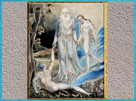 D'après L'Ange amenant Ève à Adam, de William Blake, 1803, plume, encre, aquarelle, début XIXe siècle. (Marsailly/Blogostelle)