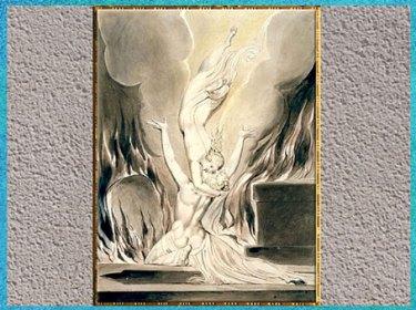 D'après The Reunion of the Soul and the Body (La réunion de l'âme et du corps), de William Blake, poème de Robert Blair, The Grave (La Tombe), gravure Schiavonetti, 1813. (Marsailly/Blogostelle)