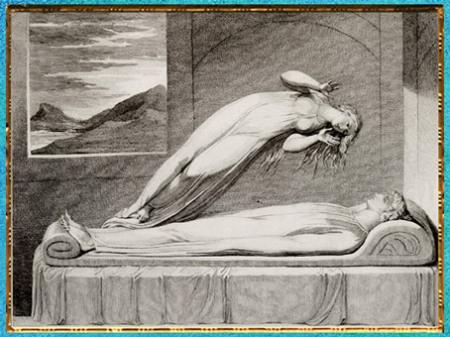 D'après The Soul hovering over the Body (L'âme planant au-dessus du corps), de William Blake, poème de Robert Blair, The Grave (La Tombe), gravure Schiavonetti, 1813, début XIXe siècle. (Marsailly/Blogostelle)
