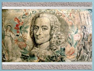 D'après  Voltaire, de William Blake, 1800-1803, encre et tempera sur toile, début XIXe siècle. (Marsailly/Blogostelle)