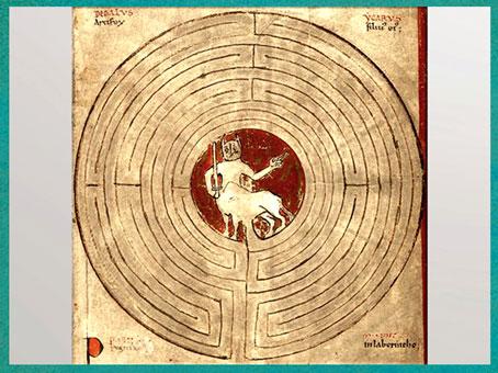 D'après le labyrinthe de Dédale et le Minotaure, parchemin, Lambert de Saint-Omer, Liber Floridus, 1121, XIIe siècle, art médiéval. (Marsailly/Blogostelle)