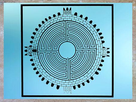 D'après le labyrinthe de Thysdrus, reconstitution, mosaïque romaine, IIIe siècle, El Jem, Tunisie, art antique. (Marsailly/Blogostelle)