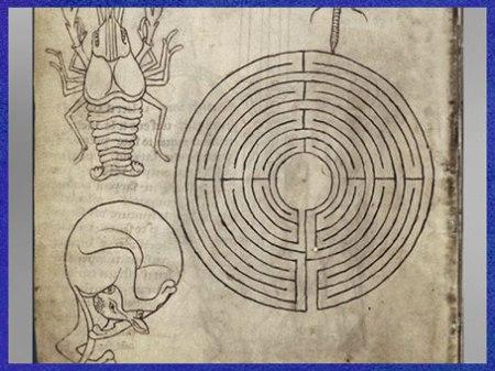 D'après le tracé d'un labyrinthe, Carnet de dessins de Villard de Honnecourt, XIIIe siècle, France. (Marsailly/Blogostelle)