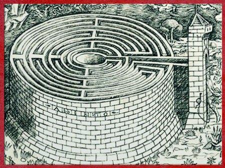 D'après le labyrinthe du Minotaure, Baccio Baldini, détail, gravure, vers 1446, XVe siècle. (Marsailly/Blogostelle)