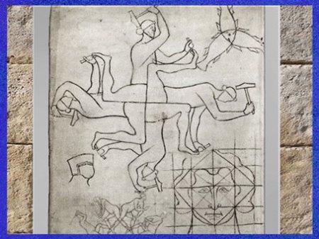 D'après quatre sculpteurs, Carnet de dessins de Villard de Bonnecourt, 1225 -1250, crayon et encre, XIIIe siècle, France. (Marsailly/Blogostelle)