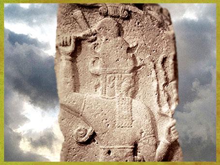 D'après le dieu Hittite de l'Orage et sa Hache, vers 860 avjc, Syrie, Orient ancien. (Marsailly/Blogostelle)