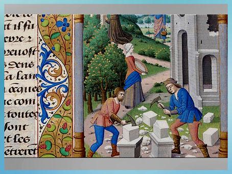 D'après des tailleurs de pierre, chantier d'église, Légende dorée, de Jacques de Voragine, manuscrit, vers 1485, XVe siècle, France. (Marsailly/Blogostelle)