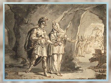 D'après Énée et la sibylle de Cumes dans les Enfers, de Arnold Houbraken, plume, encre, pinceau et lavis, fin XVIIe siècle-début XVIIIe siècle. (Marsailly/Blogostelle)