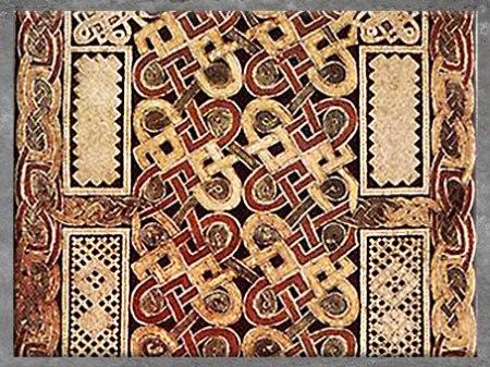 D'après des nœuds -maillons, livre de Durrow, fin VIIe siècle, parchemin enluminé, haut Moyen âge, art anglo-saxon. (Marsailly/Blogostelle)