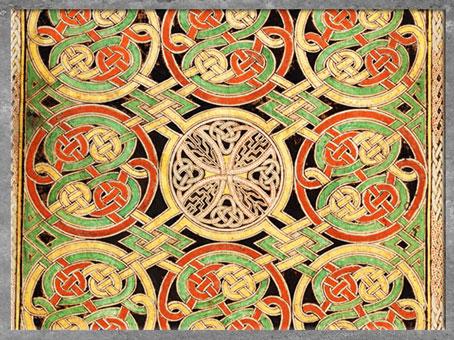 D'après des entrelacs, livre de Durrow, fin VIIe siècle, parchemin enluminé, haut Moyen âge, art anglo-saxon. (Marsailly/Blogostelle)