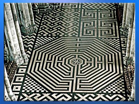 D'après le labyrinthe de la cathédrale d'Amiens, 1270 apjc, XIIIe siècle, France, style Gothique, art médiéval. (Marsailly/Blogostelle)