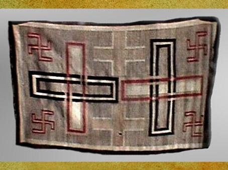 D'après un tissage traditionnel Navajos, svastikas et chaînons, peuple indien, XXe siècle, Amérique du Nord. (Marsailly/Blogostelle)