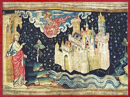 D'après La Jérusalem céleste, tapisserie de l'Apocalypse, Angers, modèles du peintre Jean de Bruges, commande vers 1375, XIVe siècle, France, art médiéval. (Marsailly/Blogostelle)