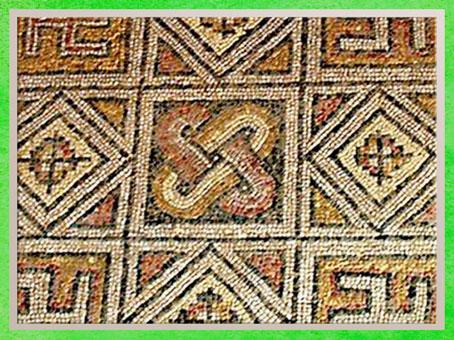D'après un motif de chaînon, mosaïque, villa La Olmeda, à Pedrosa de la Vega, Palencia, Ier-IVe siècle, période romaine. (Marsailly/Blogostelle)