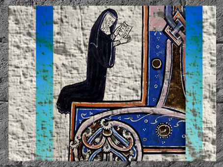 D'après la représentation d'une nonne, et motif de chaînon, enluminure, Bodleian Laud, 1260, XIIIe siècle, art médiéval. (Marsailly/Blogostelle)