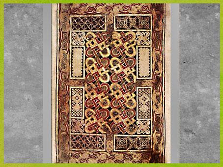 D'après des nœuds-maillons, livre de Durrow, fin VIIe siècle, parchemin enluminé, haut Moyen âge, art anglo-saxon. (Marsailly/Blogostelle)