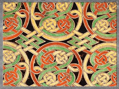 D'après des nœuds et entrelacs, livre de Durrow, fin VIIe siècle, parchemin enluminé, haut Moyen âge, art anglo-saxon. (Marsailly/Blogostelle)