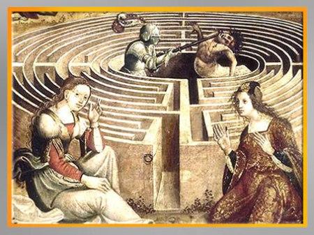 D'après Thésée combattant le Minotaure, du Maître des Cassoni Campana, détail, selon Ovide, Métamorphoses, vers 1500 -1525, huile sur bois, XVIe siècle. (Marsailly/Blogostelle)
