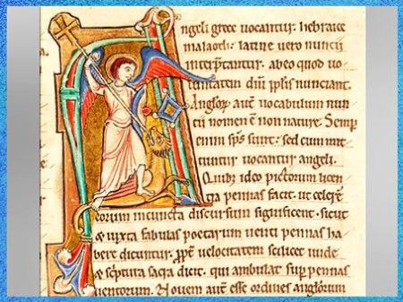 D'après l'archange Michel terrassant le dragon, Grand lectionnaire de Corbie, tome III, 1179, manuscrit latin,  XIIe siècle, France, art médiéval. (Marsailly/Blogostelle)