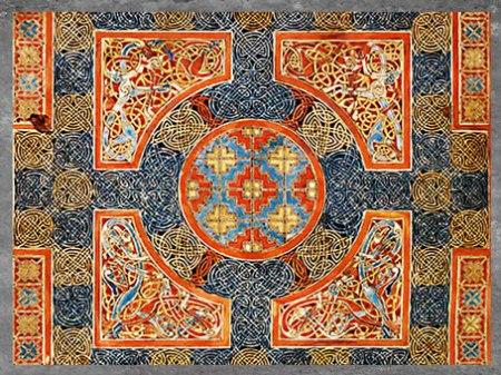 D'après des entrelacs, Évangiles de Lindisfarne, fin VIIe siècle, du moine Eadfrith, évêque de Lindisfarne, Angleterre, Haut Moyen âge. (Marsailly/Blogostelle)