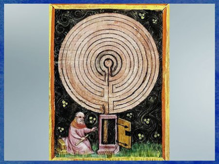 D'après le labyrinthe alchimique, Rabanus Maurus De rerum naturis, 1425, ouvrage latin, XVe siècle, Biblioteca Apostolica Vaticana. (Marsailly/Blogostelle)