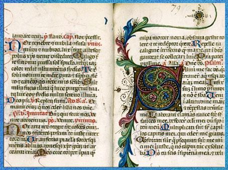 D'après des motifs d'entrelacs, Bréviaire à l'usage de Carpentras, parchemin, liturgie, XIVe siècle, art médiéval. (Marsailly/Blogostelle)