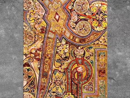 D'après des entrelacs et triskèles, livre de Kells, Incarnation, parchemin enluminé, début IXe siècle, Irlande, art Médiéval. (Marsailly/Blogostelle)