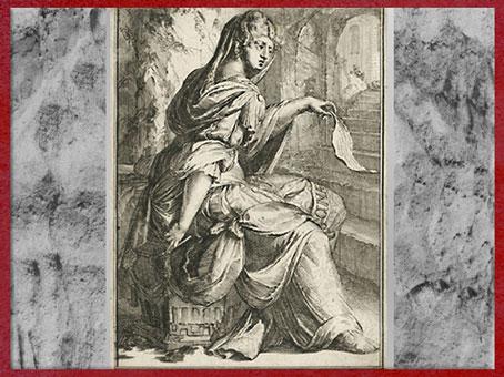 D'après la sybille de Cumes dans son antre, de Romeyn de Hooghe, eau-forte, XVIe siècle, Pays-Bas. (Marsailly/Blogostelle)