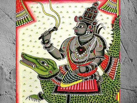 D'après une représentation du dieu védique Varuna armé de son lacet magique, Inde ancienne. Marsailly/Blogostelle)