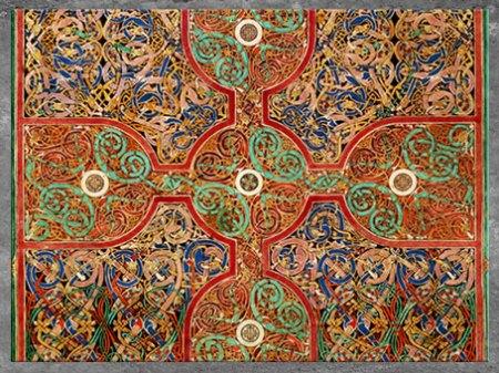 D'après des entrelacs et des nœuds, Évangiles de Lindisfarne, fin VIIe siècle, du moine Eadfrith, évêque de Lindisfarne, Angleterre, Haut Moyen âge. (Marsailly/Blogostelle)