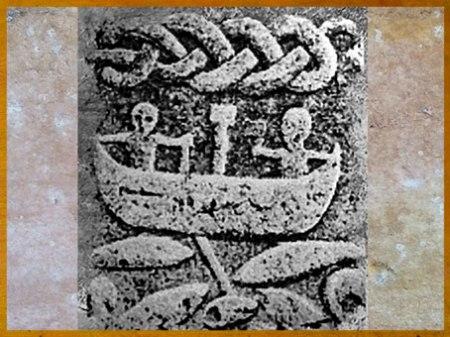 D'après une scène de pêche et entrelacs-serpent, mythologie nordique. (Marsailly/Blogostelle)