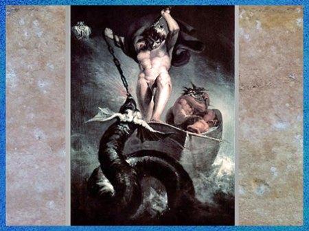 D'après le combat de Thor contre le serpent de Midgard, Johann Heinrich Füssli, fin XVIIIe siècle. (Marsailly/Blogostelle)