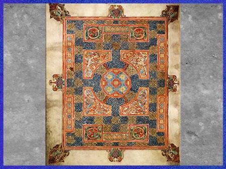 D'après les Évangiles de Lindisfarne, entrelacs, du moine Eadfrith, évêque de Lindisfarne, fin VIIe siècle, Angleterre, haut Moyen âge. (Marsailly/Blogostelle)