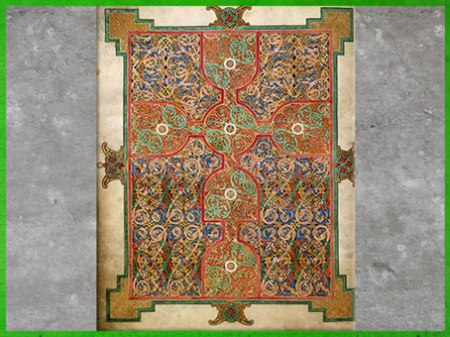 D'après les Évangiles de Lindisfarne, entrelacs complexes, fin VIIe siècle, du moine Eadfrith, évêque de Lindisfarne, Angleterre, Haut Moyen âge. (Marsailly/Blogostelle)
